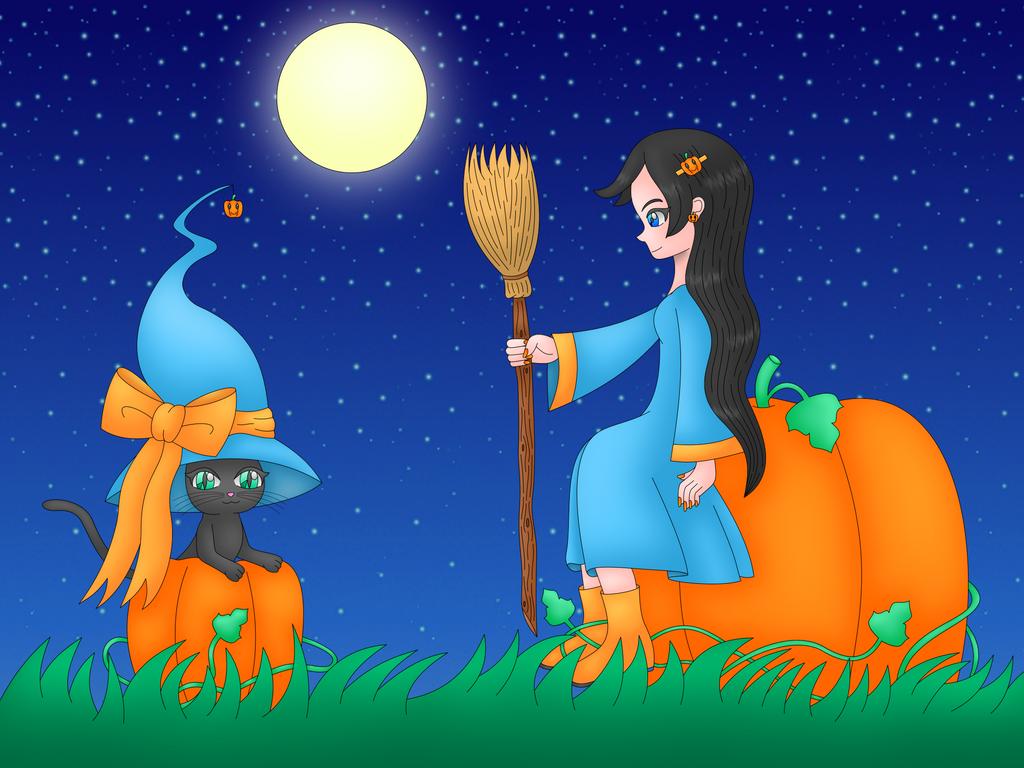 Kawaii Witch DA Print by MikariStar