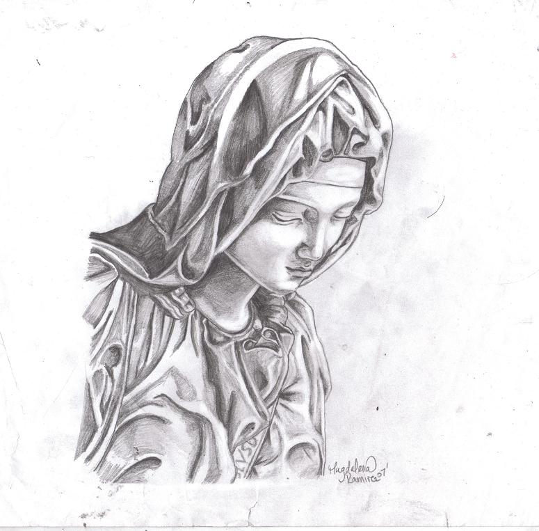 Line Drawing Virgin Mary : Virgin mary by kissmyanime on deviantart
