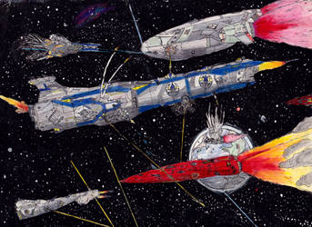 Classic Space Battle: Hit and Run by PrinzEugn
