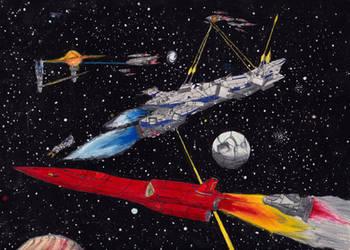 Classic Space Battle: Blockade Running by PrinzEugn