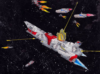 Classic Space Battle: Escort Duty by PrinzEugn