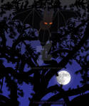 Red-Eyed Bat in Tree by Moon