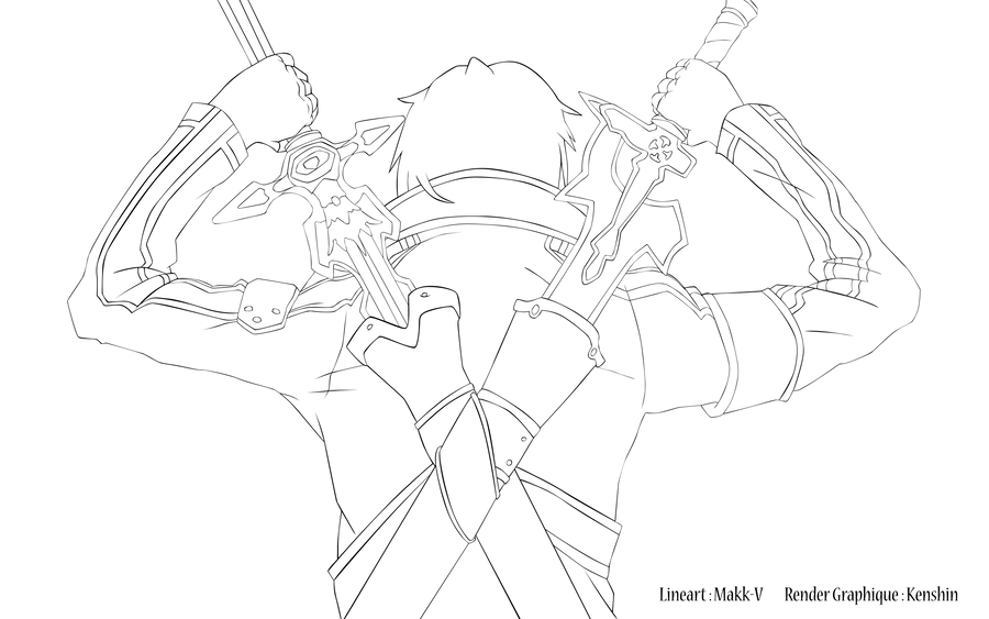Kirito Lineart : Kirito back lineart by makk v on deviantart