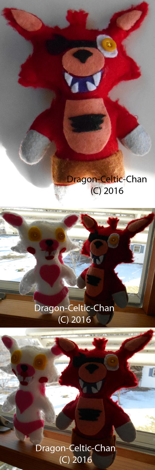 Foxy and Mangle Plushes by Dragon-Celtic-Chan