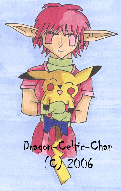 Aelita and Pikachumon by Dragon-Celtic-Chan