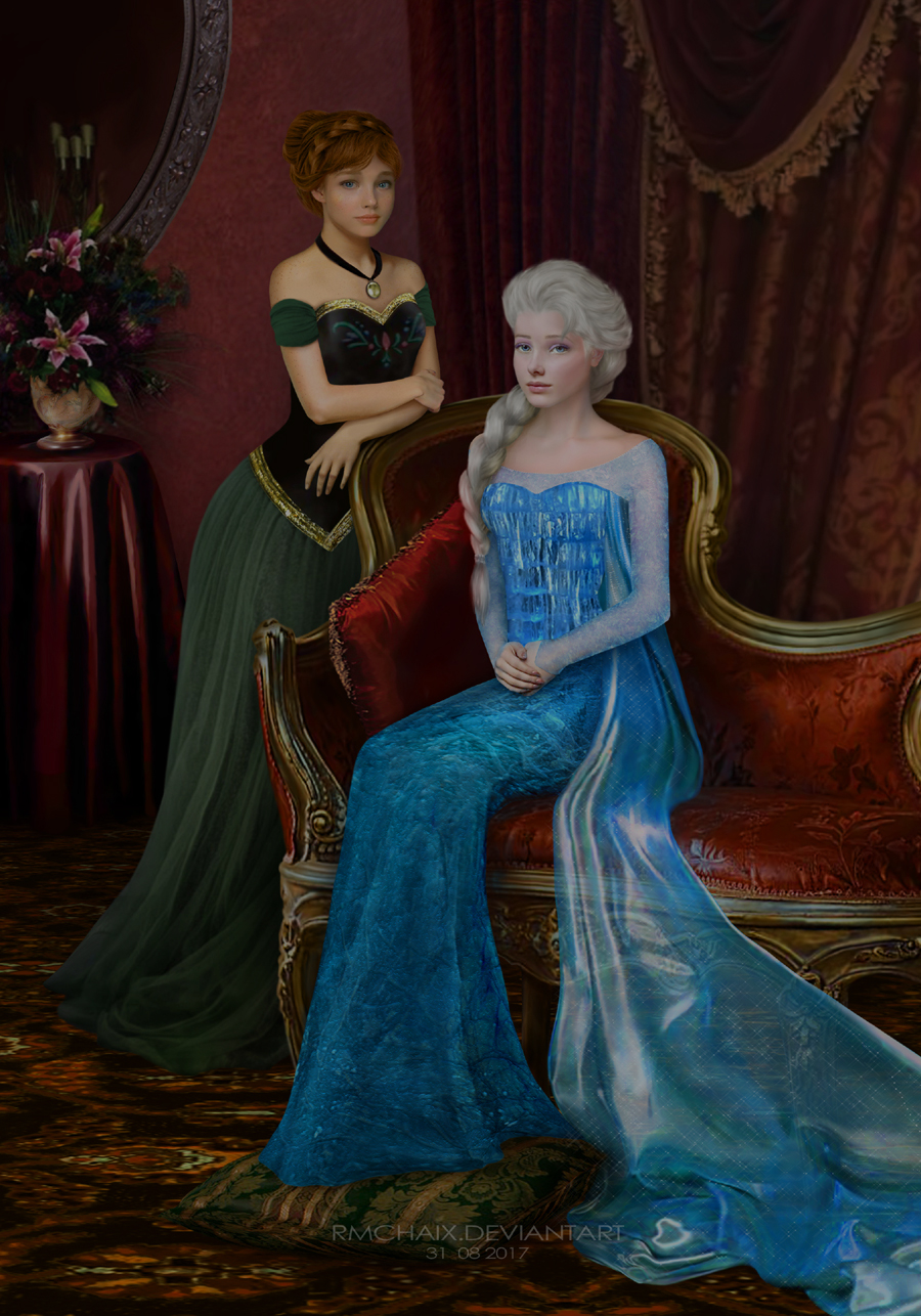 Elsa and Anna Frozen portrait by rmchaix