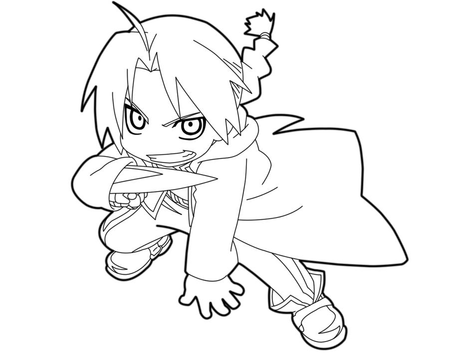 Mini elric chibi edward elric lineart by animemaniaco