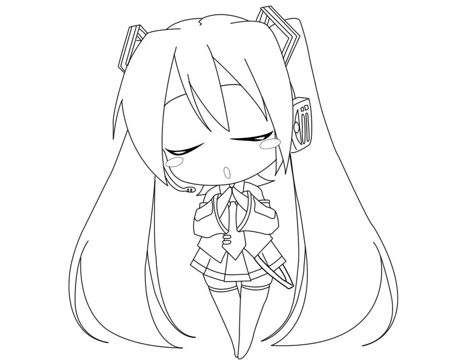 Hatsune Miku Lineart by Animemaniaco on DeviantArt