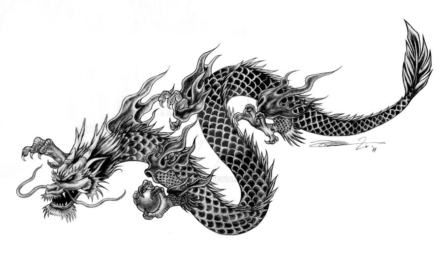 commissioned tattoo art chinese style dragon by mynaito on deviantart