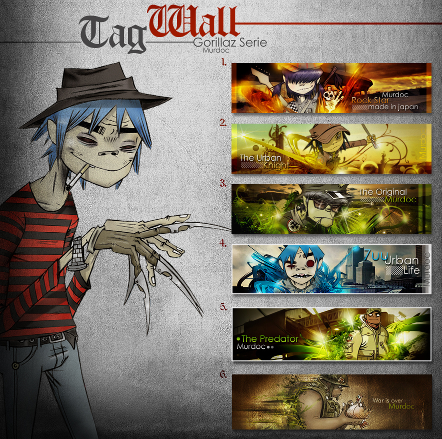 Tag Wall: Gorillaz by Murdoc-Th