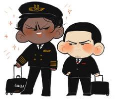 pilot flight attendant by Fingurken