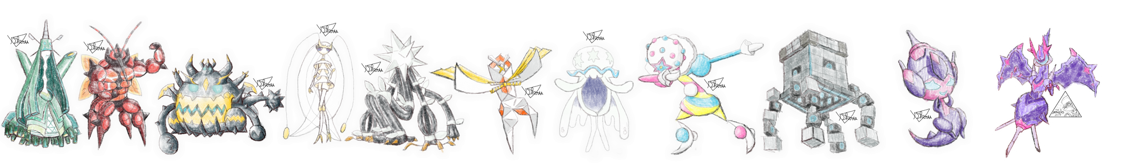 Ultra Beasts - Crayon effect (real size)
