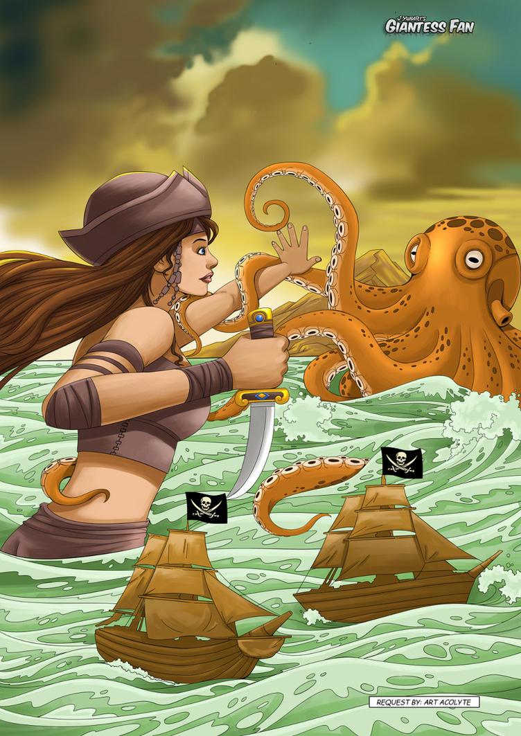 Pirate Giantess vs Giant Squid by giantess-fan-comics