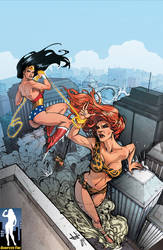 Giantess Wonder Woman vs. Giganta by giantess-fan-comics