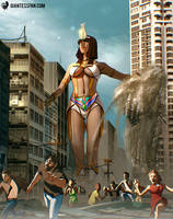 Giantess Egyptian Goddess by giantess-fan-comics