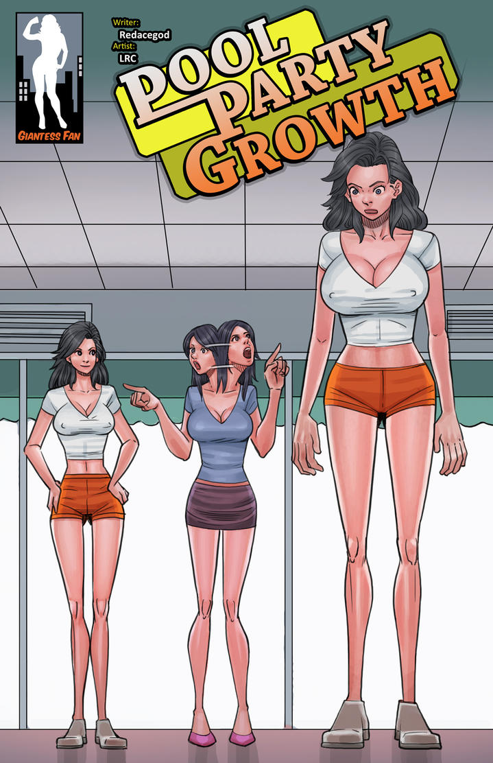 Pool Party Growth - Lanky and Leggy Lady by giantess-fan-comics