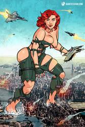 The Amazing Colossal Black Widow by giantess-fan-comics