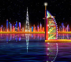 Dubai's Skyline by BornOfLight