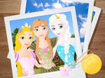 Art trade: Rapunzel, Anna and Elsa