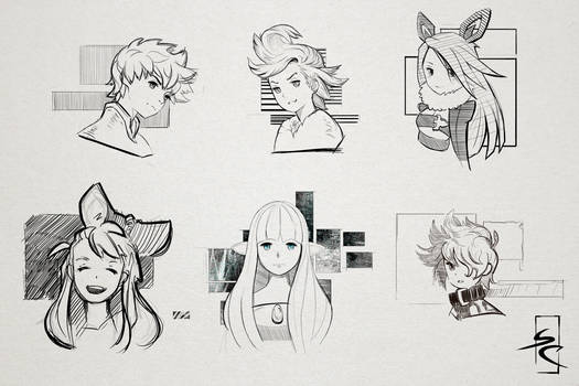 Sketches of bravely default (sketch page 5)
