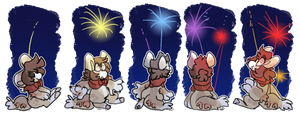 Late night fireworks (1-5) by Faky-bean