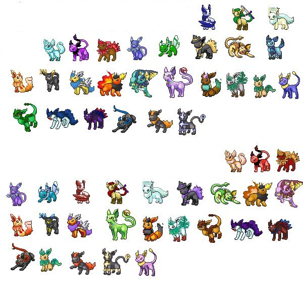 eevee fake evolutions sheet by Demoneyes92 on DeviantArt