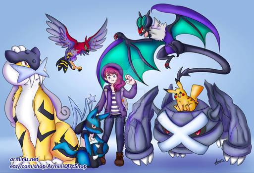 Girl and Pokemon Team