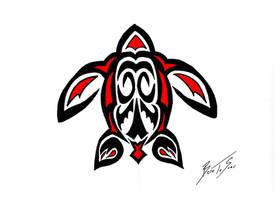 Tribal Turtle Tattoo by BornToSoar