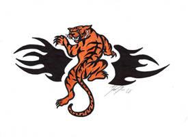 Tribal Tiger Tattoo by BornToSoar