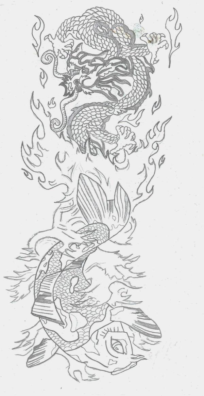 koi dragon tattoo. Koi and Dragon Tattoo WIP by