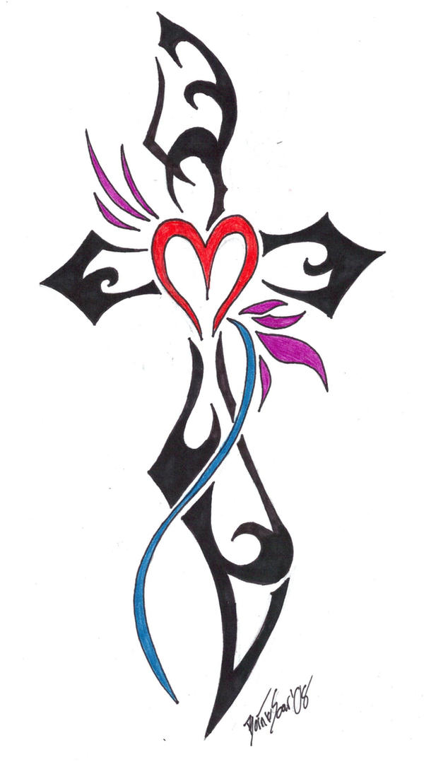 Tribal Cross Tattoo Design.