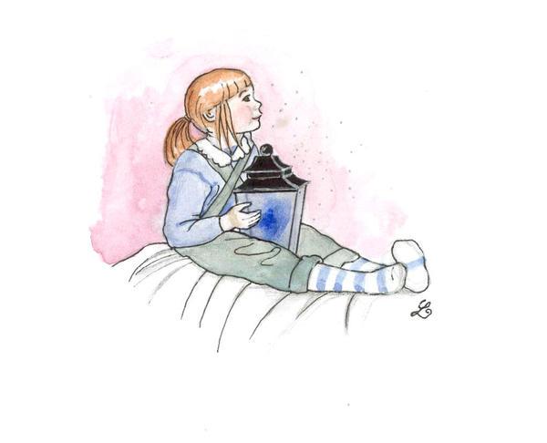 Child with blue lantern