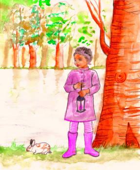 Black girl with pink lantern