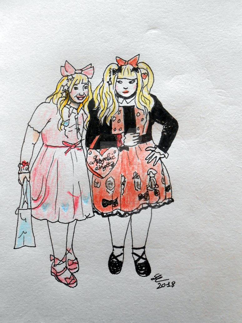 Sweet lolitas sketch by Lanterne-Bleue