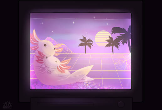 Commission: Vaporwave Axolotls