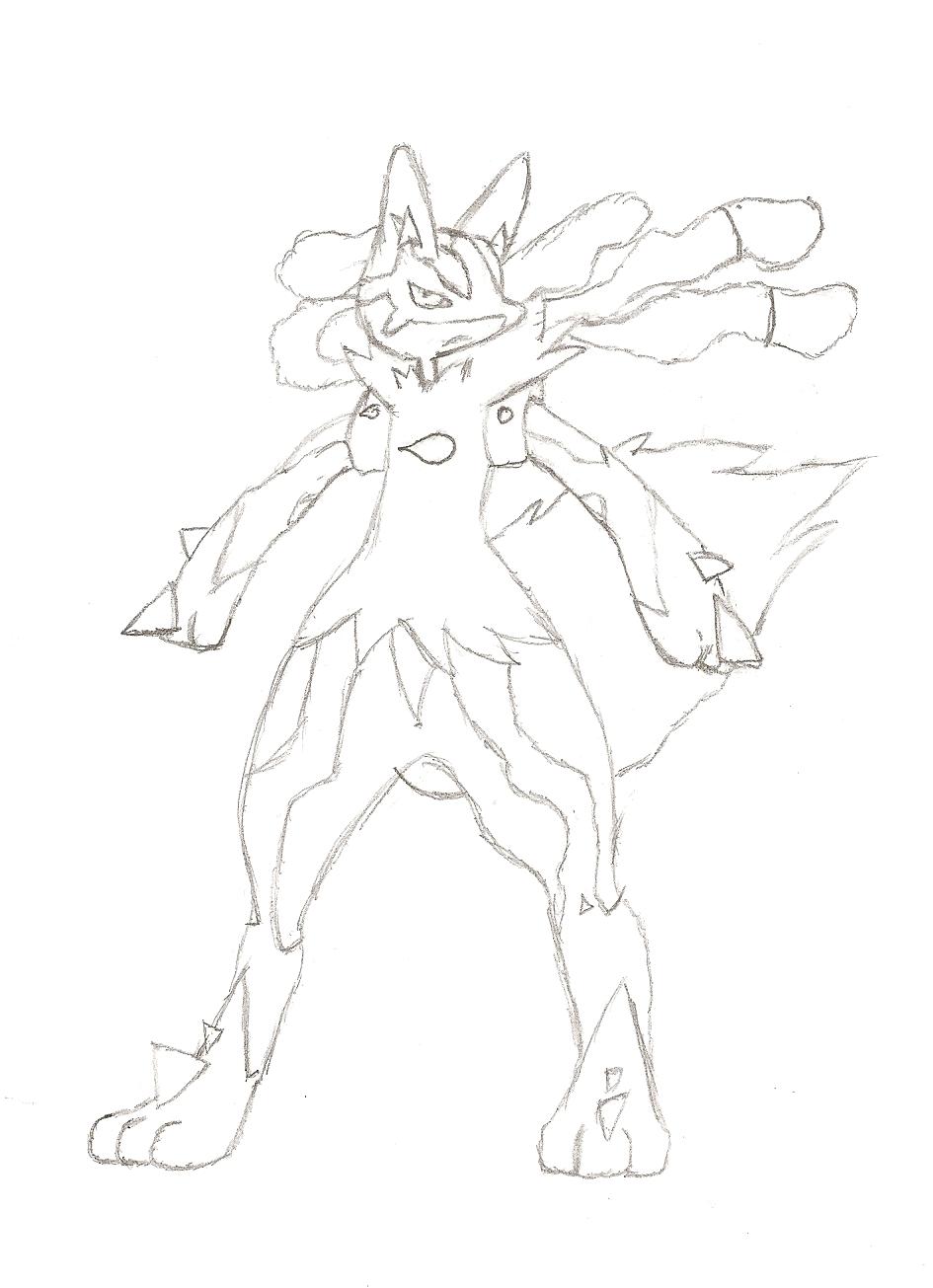 Pokemon coloring pages mega lucario -  Mega Lucario By Rising Fang