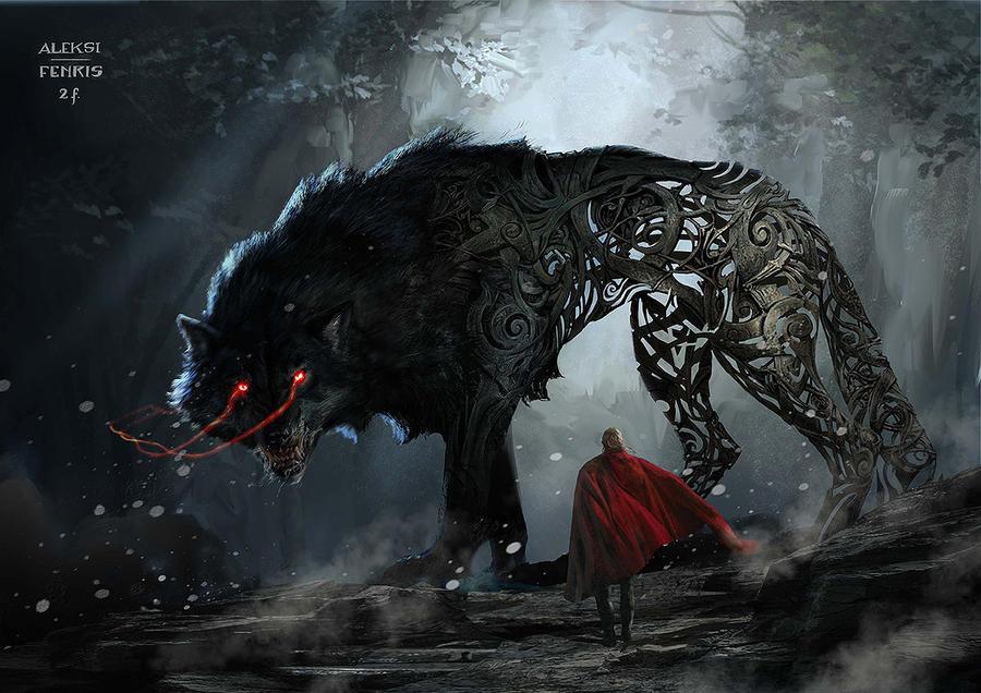 O Ruir do Velho Mundo - Irmãos de Sangue - Página 2 Fenrir_in_thor___ragnarok_by_aleksi__briclot-dbxgvzv