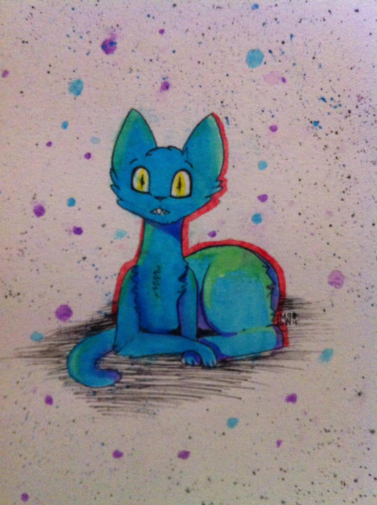 Splatter Cat (watercolor) by Mimicwolf