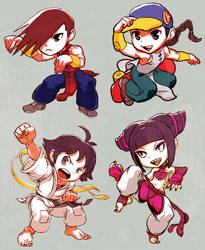 Street Fighter Yun Yang Makoto Juri by oetaro