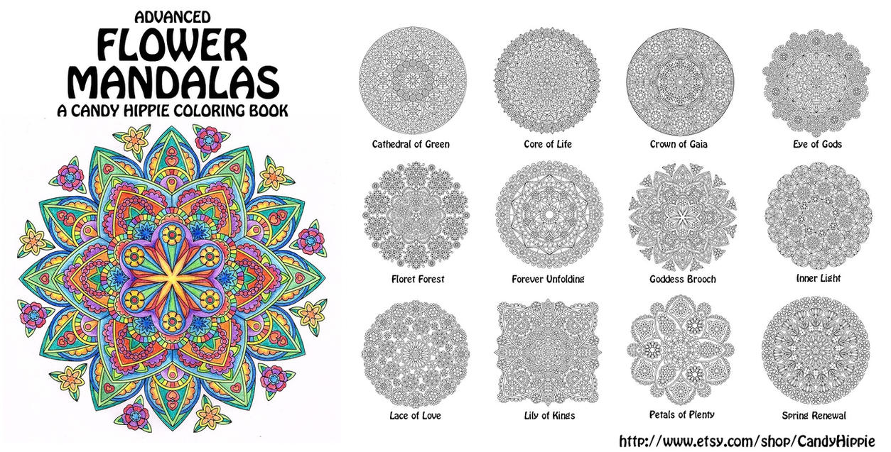 Advanced Flower Mandalas Adult Coloring Book By Candy Hippie