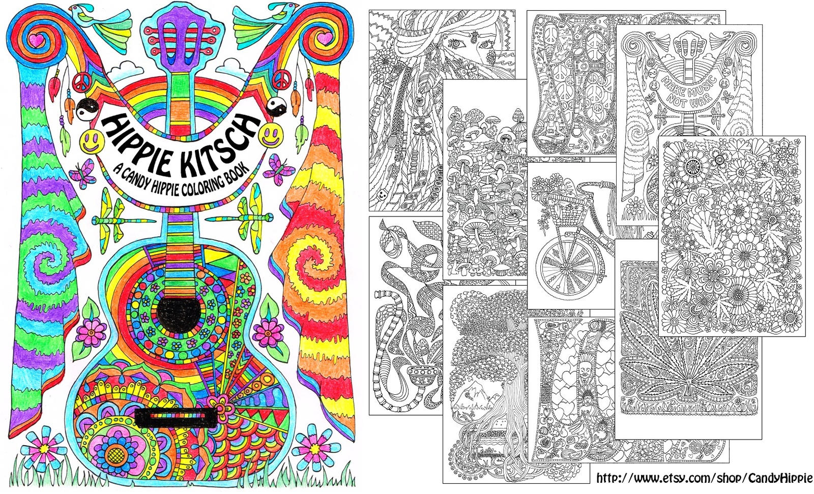Hippie Kitsch adult coloring book by candy-hippie on DeviantArt