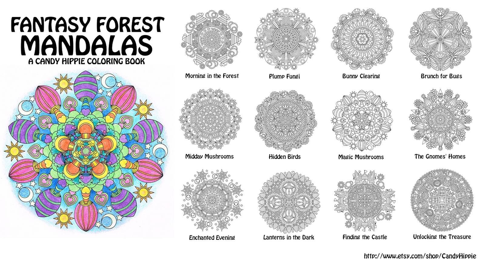 Fantasy Forest Mandalas Coloring Book By Candy Hippie