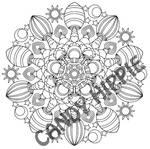 Magic Mushrooms printable mandala coloring page