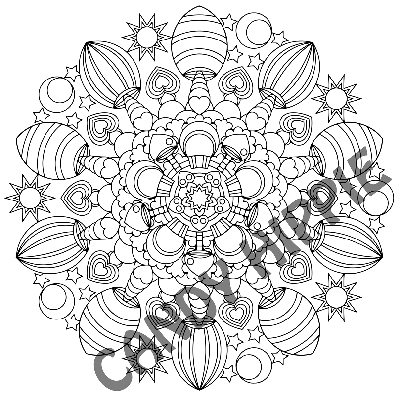 magic mushrooms printable mandala coloring page by candy hippie - Psychedelic Hippie Coloring Pages