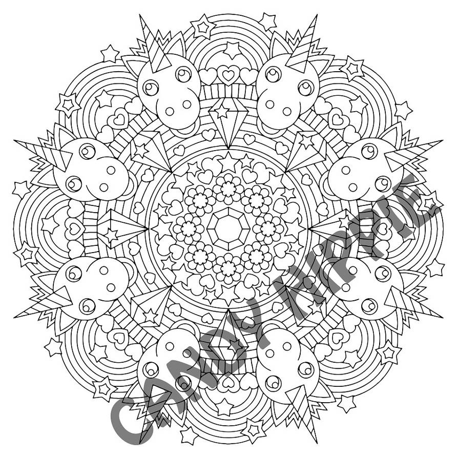 rainbow unicorn mandala coloring page by candy hippie on deviantart. Black Bedroom Furniture Sets. Home Design Ideas