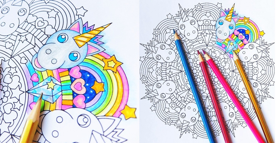 Rainbow Unicorn Mandala Coloring Page By Candy Hippie