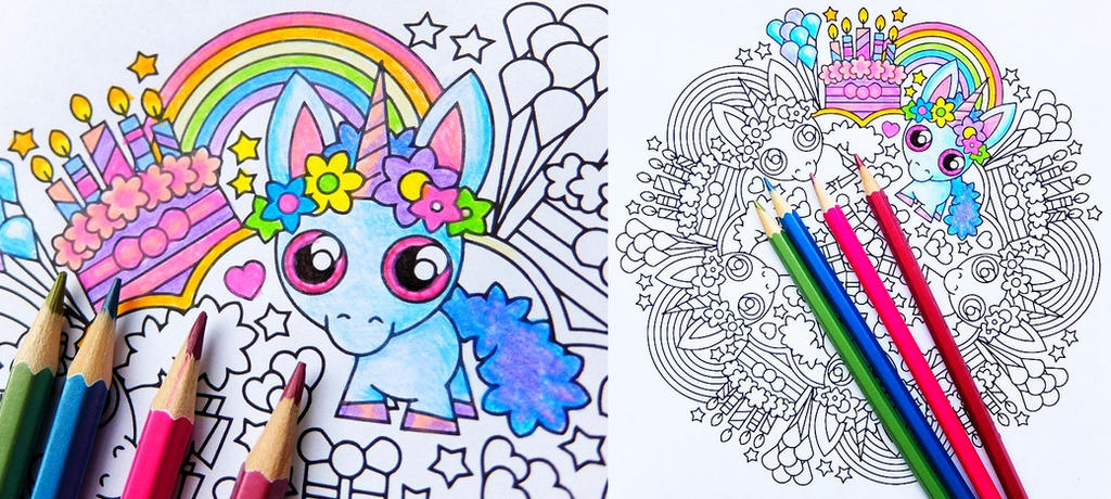 Baby Unicorn Birthday Party Mandala Coloring Page By Candy Hippie