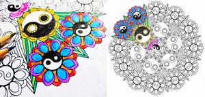 Yin Yang Bouquet mandala coloring page