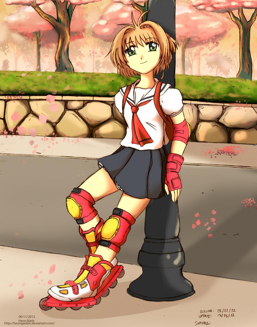 Sakura Kinomoto Skates Alone by HeonGaiden