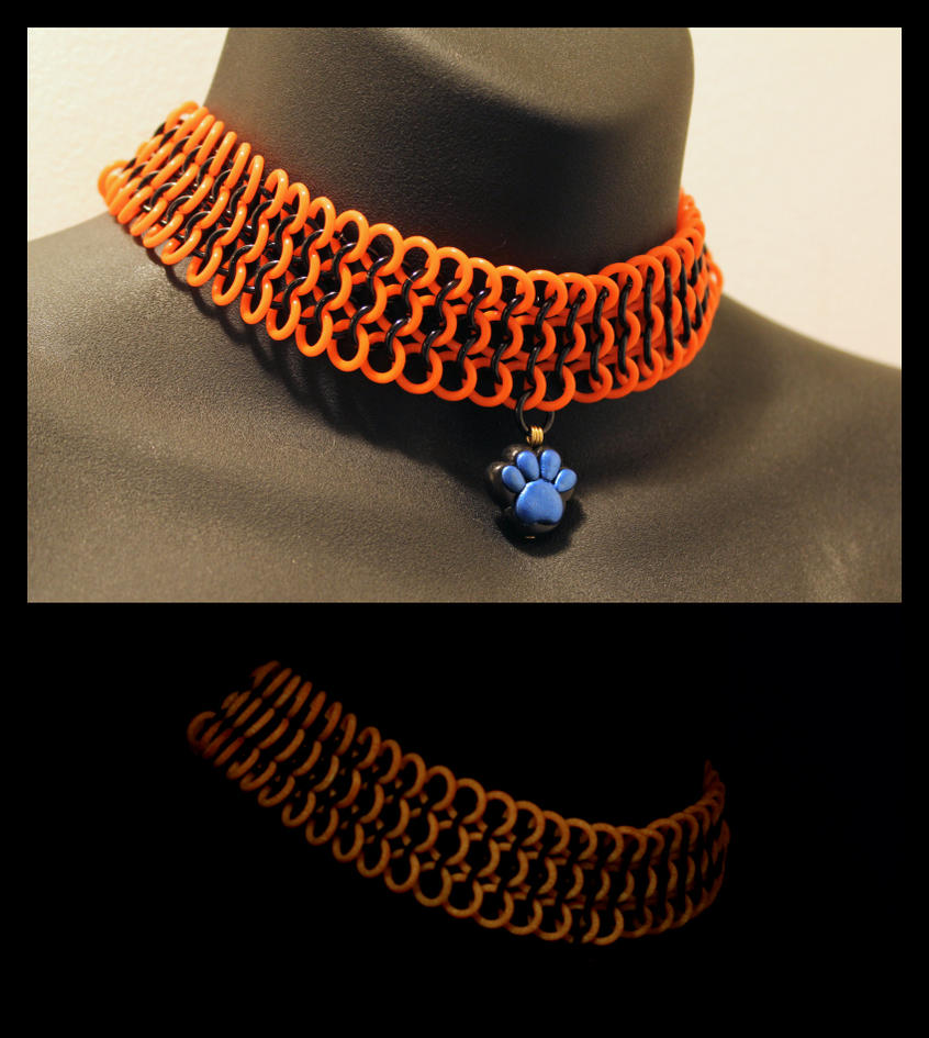 Orange GITD Choker Commission by SilverHauntArmoury
